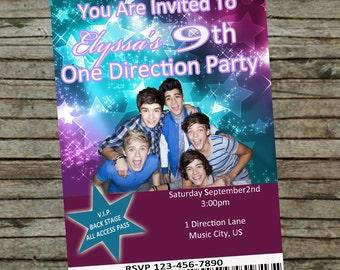 One Direction Birthday Invitation