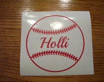 Personalized Baseball vinyl decal
