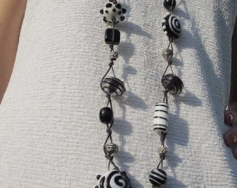 Black and White Long Necklace with Glass Lampwork Beads, Hand-made