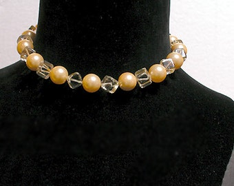 Cafe Society Collection Necklace: Large Mother of Pearl and Square Central Beads