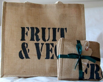 Large Jute Shopping Bag to organise in Navy, Light Blue and Black, hand printed