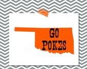 BIG 12 Go Pokes! College Football Printable - Game Day Decor - Orange and Black! Oklahoma State University Cowboys