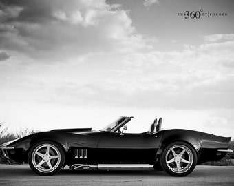 Poster of Chevy C3 Corvette Convertible Left Side 2 on 360 Forged wheels Black and white HD print