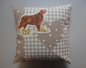Cushion with appliqued heart and Retriever dog motif