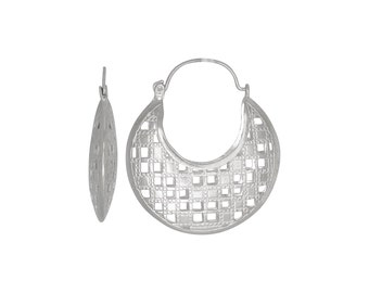 Sterling Silver .925 Checkers Design Basket Earring (L) | Made in USA