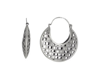 Sterling Silver .925 Checkers Design Basket Earring, Oxidized | Made in USA