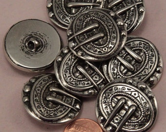 """Lot of 8 Silver Tone Metal Black Accent Shank Buttons Puffed 1 1/8"""" 29mm (#6318)"""