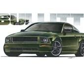 2008 Ford Mustang Bullitt 12x24 inch Art Print by Jim Gerdom