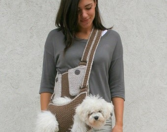 Pet carrier / Crochet dog carrier / Dog sling carrier with pockets / BubaDog pet carriers