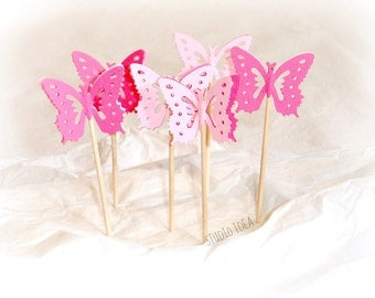 Mixed Pink Monarch Butterfly Cupcake Toppers, Food Picks-Set of 24 pcs