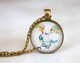 Bird In Flight By Kiersten Wilkins Vintage Style Necklace, Colorful Bird Wings Necklace, Bird Jewelry, Watercolor Painting Jewelry Pendant