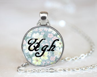 Ugh Floral Word Necklace Friend Gift, Floral Necklace, Ugh Necklace, Funny Quote, Sarcastic Quote, Kawaii Jewelry, Cute Jewelry necklace