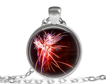 FREE SHIPPING Firework Necklace New Years Celebration jewelry, Red firework spark necklace, Chinese new year celebration necklace 4th of jul