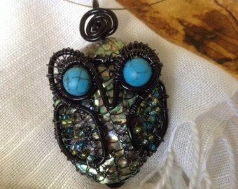 Abalone Owl Pendant, wire wrapped