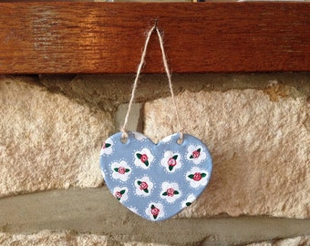 Hand made and painted Floral Hanging Decoration (two holes) READY TO SEND!