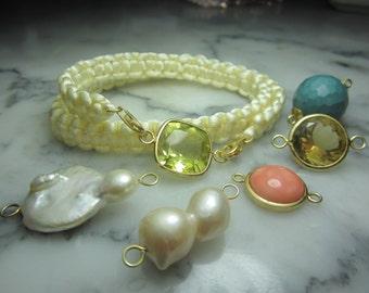 TOM K bracelet Lemon quartz silk velvet Lily Coral  Charms summer Rose Gold Friendship bracelet Shamballa