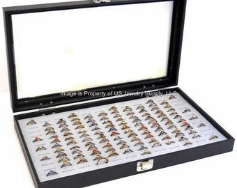 Key Lock Locking Glass Top 144 Ring Grey Jewelry Sales, Display Box Storage Case