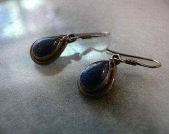 vintage sterling and blue lapis earrings