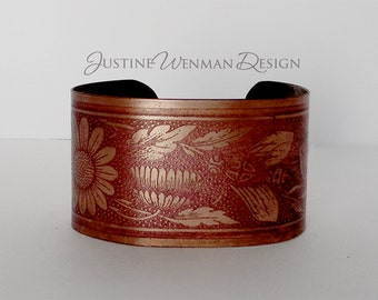 Brass Cuff Etched w/ Fly Motif, Daisy, Johnny-Jump Up Flowers, Garden, Botanical, Insects, Woman's Bracelet