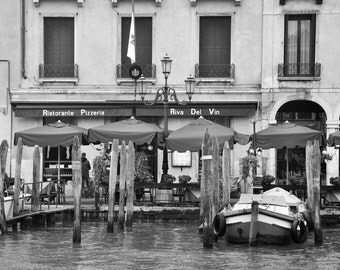 Venice Photography, Pizzeria, Black and White, Travel Photography, Fine Art Print, Italy, Europe, Architecture, Wall Art, Matted, Home Decor