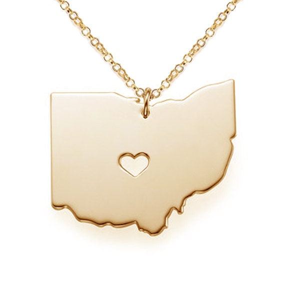 gold oh state shaped necklaceohio state necklace with a