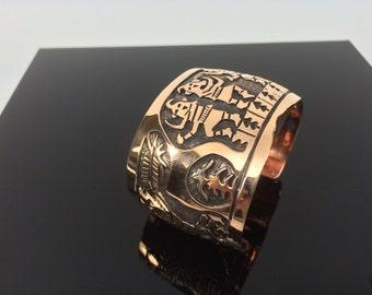 """Wide Copper Cuff Bracelet // Large Handmade Copper Cuff // Fits Size 7"""" to 8"""" Wrist //"""