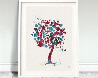 TREE LOVE Watercolor Art Print Heart Leaf Leaves Ink Painting illustrations Art Print Wall Art Poster Giclée Wall Decor Home (Nº1)