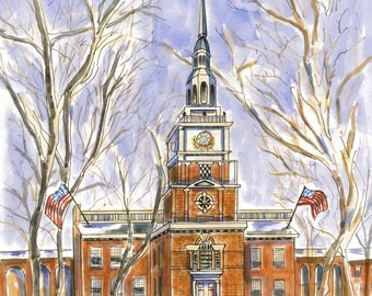 Philadelphia Independence Hall. Blank Note Card. Customized message.