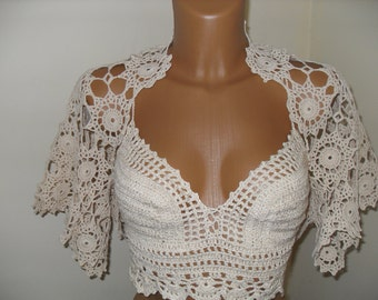 Bolero handmade crochet with flawers