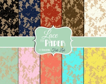 Shabby Chic, Lace Digital Paper, Scrapbook,12x12, Digital Paper Pack, Instant Download
