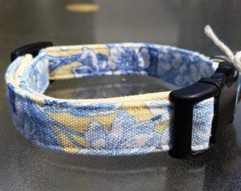 Small Medium Hawaiian Dog Collar Floral Handmade Adjustable Dog Collar 3/4 inch Webbing