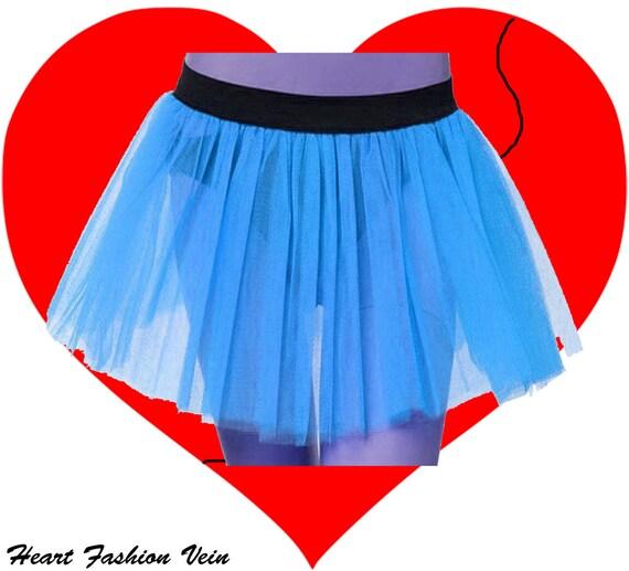 plus size blue tutu skirt 3 layers length 13 to 14 free
