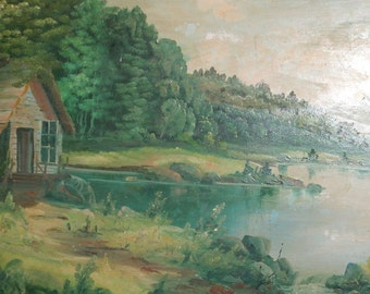 Vintage oil painting river landscape