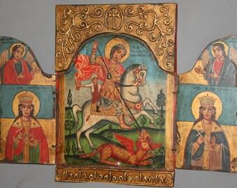 Vintage Bulgarian Orthodox saint George icon tryptich