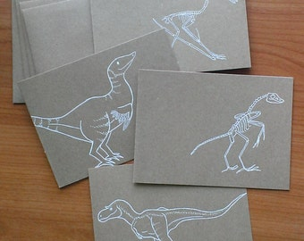 transitional fossil gift cards, blank on the inside, set of four, hand drawn