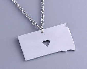 I heart South Dakota Necklace - South Dakota Pendant - State Charm - Map necklace - Map Jewelry