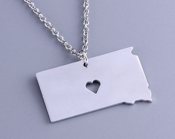 I heart south dakota necklace south dakota pendant state for Same day jewelry repair