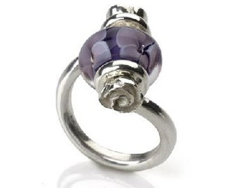WHIMSY Worldwide Sterling Interchangeable Bead Ring 'Sophia'  sz 5 - 10