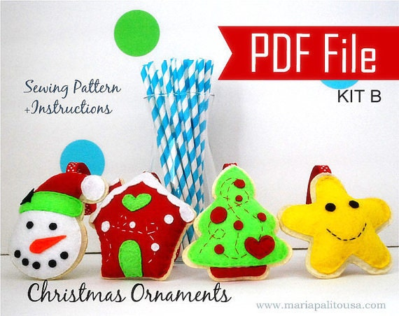 Pdf Felt Christmas Ornament Patterns, 4 Christmas Ornament Set, Snowman, Gingerbread House, Happy Star, Christmas Tree A866
