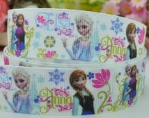 "50 yards 7/8"" Elsa Ribbon, Frozen Ribbon, Grosgrain 7/8 inch, 22mm Frozen Supplies, Frozen Decorations, many more frozen ribbons in our shop"