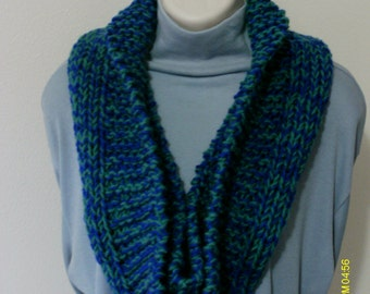 Scarf Knit Infinity Cowl Chunky Teal Blue