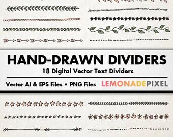 Text Dividers Clip Art - Hand Drawn Clipart, wedding clipart, Blog Dividers, Commercial Use, Decorative Border, Blog Embellishment