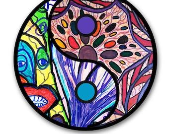 Psychadelic Yin Yang Symbol with Happy Alien