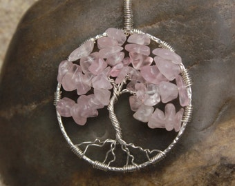 Rose Quartz Sterling Silver Wire Wrapped Tree of Life Pendant