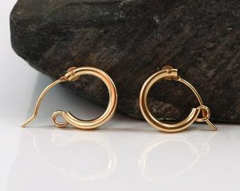 Small gold hoop earring , goldfilled earrings