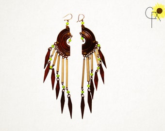 Wood and Porcupine Quill Dangle Windchime Earrings