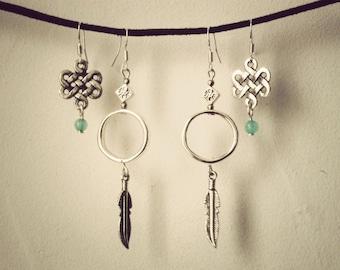 earrings boho gypsy silver tibetan feather set of 2 pairs