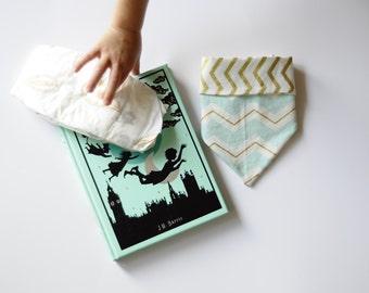 Baby Reversible Scarf- Gold Chevron / Mint & Gold Chevron- Cotton Blend Fabric