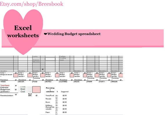 Wedding Budget,  Wedding finances, wedding spreadsheet -excel Spreadsheet