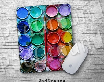 Watercolor Set, Personalized Computer Mouse Pad, Paint Box Mouse Pad, Water Color Natural Soft Fabric rubber backing Mouse Pad - WP01